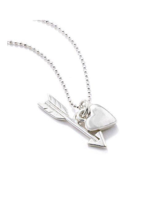 Vicky Davies - Metallic Sterling Silver Heart & Arrow Pendant Necklace - Lyst