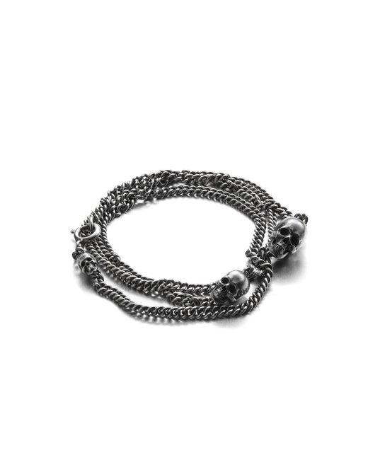 Heidi Vornan Metallic Sterling Silver Triple Skull Bracelet