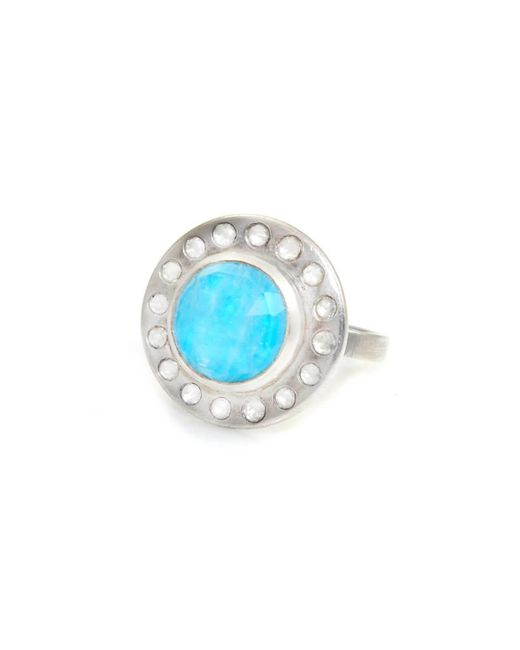Lisa Robin - Blue Ring Diamond Halo With Turquoise - Lyst