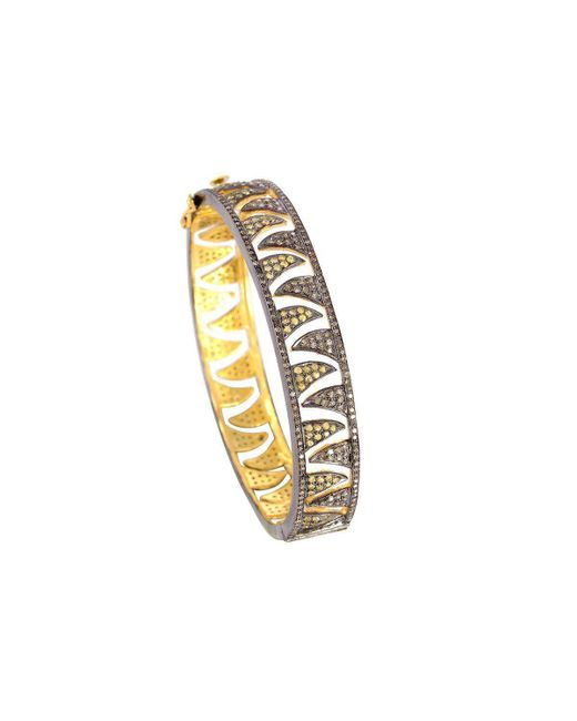 Meghna Jewels - Metallic Claw Gold And Black Bangle - Lyst