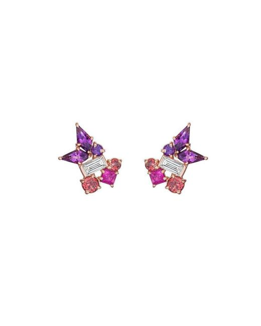 Madstone Design - Pink Melting Ice Baguette Diamond Amethyst Kite Stud - Lyst