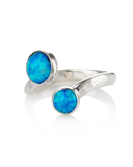 Lavan - Blue Silver Ring With Two Opals - Lyst