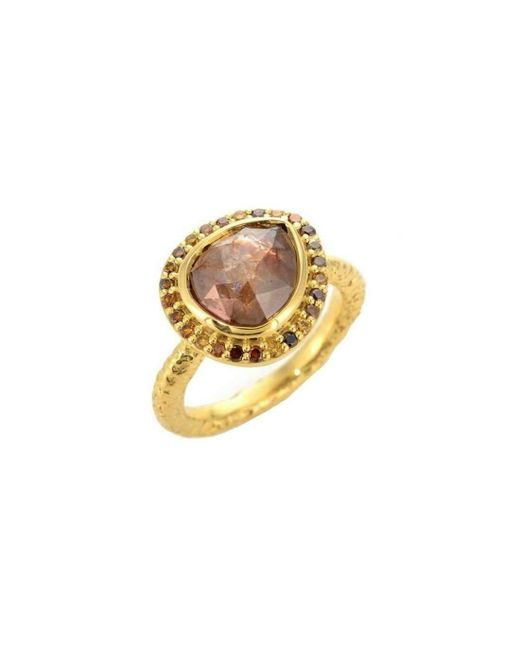 Susan Wheeler Design - Metallic Yellow Gold Brown Diamond Ring With Pave Diamond Surround - Lyst