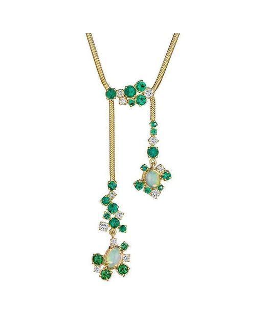 Madstone Design - Green Melting Ice Emerald, Opal And Diamond Drop Necklace - Lyst