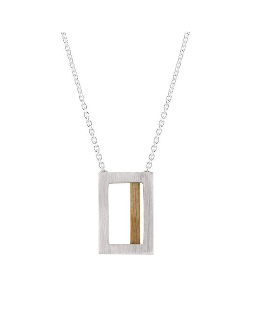 Ilda Design - Metallic Silver Necklace With Pine Tree And Cable Chain - Lyst