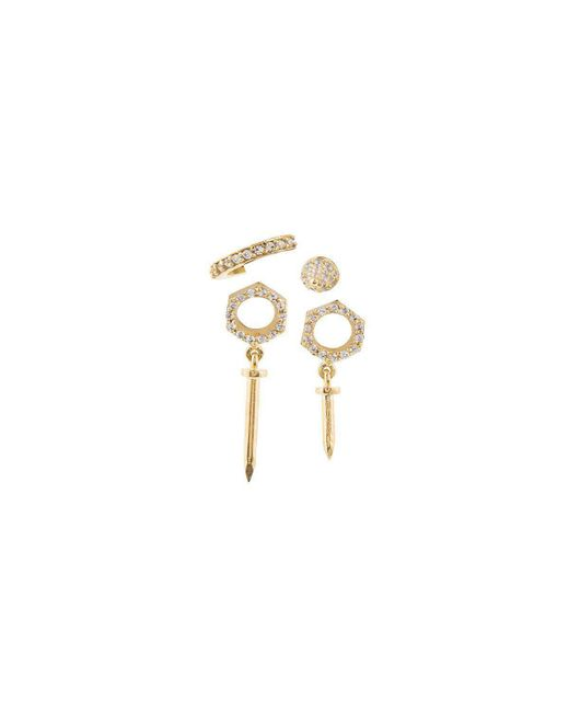 Joanna Laura Constantine - Metallic Set Of 4 Nut And Nail Earrings - Lyst