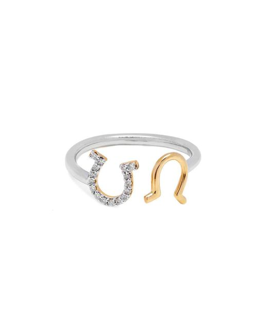Kaizarin - Multicolor Yellow Gold & Silver Diamond Open Horseshoe Ring | - Lyst