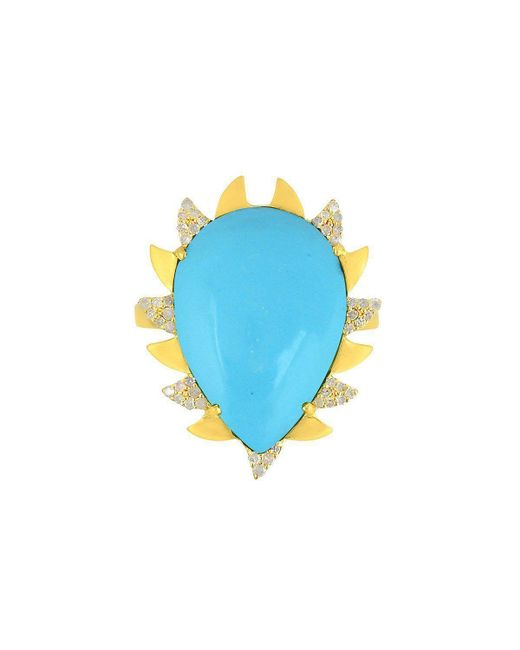 Meghna Jewels - Blue Claw Ring Turquoise - Lyst