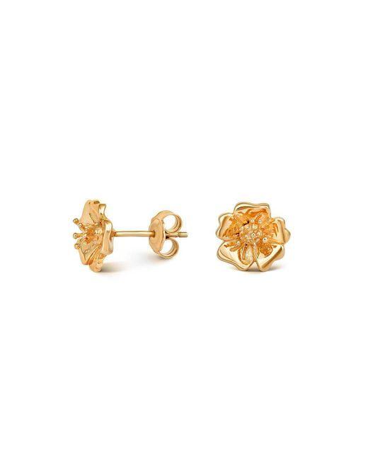 Liz Earle Fair and Fine - Metallic Wild Rose Stud Earrings Gold - Lyst