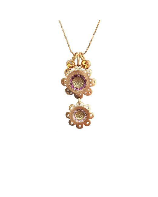 Michal Bendzel Friedman Jewelry Design   Multicolor Shitafon18kt Gold Sapphire Flower Shape Necklace   Lyst