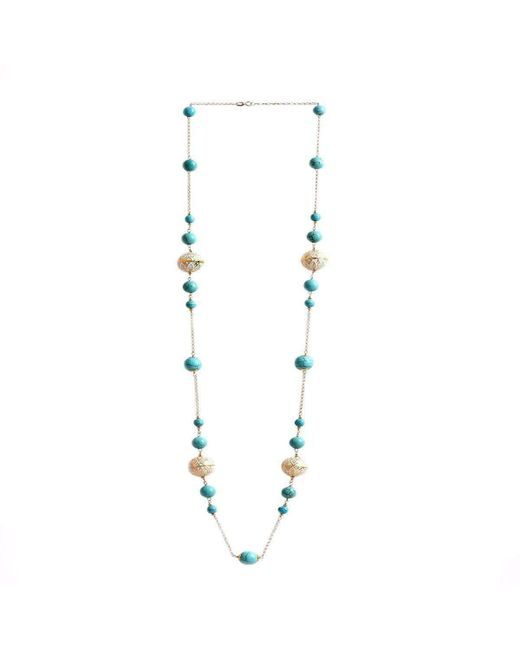 M's Gems by Mamta Valrani | Metallic Regal Hues Gold Chain With Turquoise And Enamel Beads | Lyst