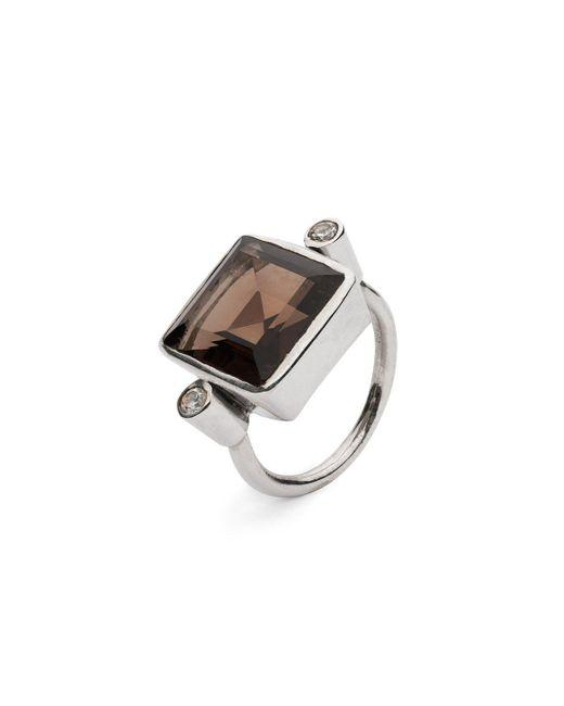 Donatella Balsamo - Metallic Sardinia Square Ring - Smoky Quartz - Lyst