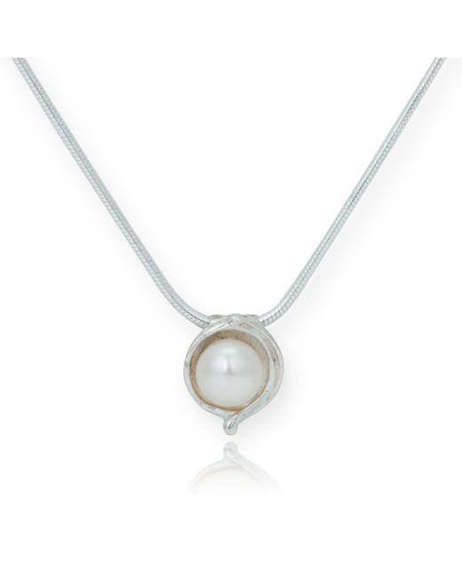 Lavan - Metallic Silver And White Pearl Pendant - Lyst