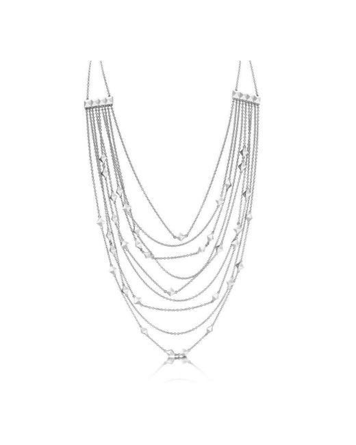 ROX - Diamonds and Thrills | Metallic Identity Sterling Silver Strand Stud Necklace | Lyst