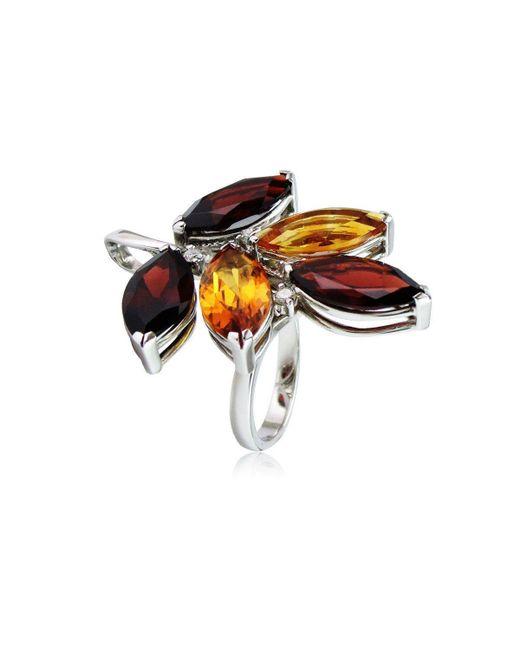 Cherie Thum - Multicolor Tree Of Life Garnet And Madeira Citrine Ring - Lyst