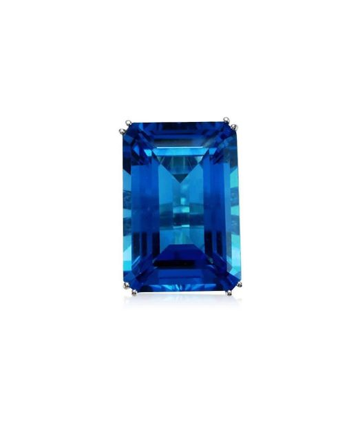Cherie Thum - Fire And Ice Emerald-cut Blue Topaz Ring - Lyst