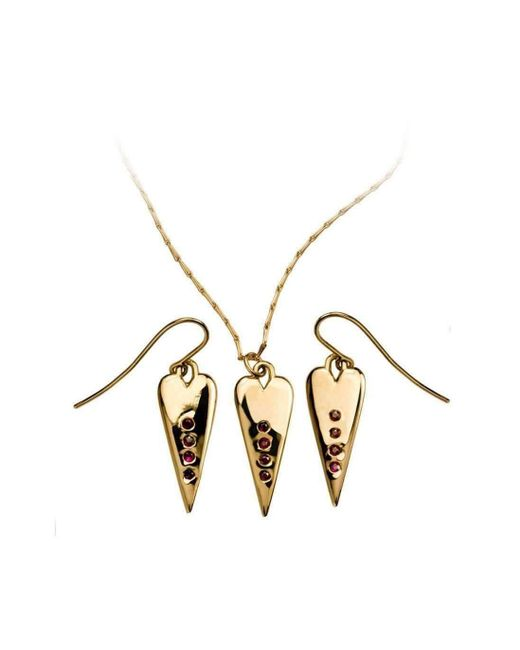 Xanthe Marina - Metallic 18kt Yellow Gold Ruby Heart Set Earrings & Necklace - Lyst