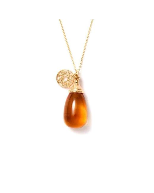 Syna 18kt Citrine Drop Necklace
