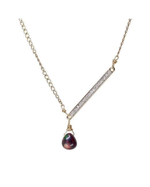 Nadean Designs   Metallic Opal Diamond Bar Asymmetrical Minimalist Necklace   Lyst