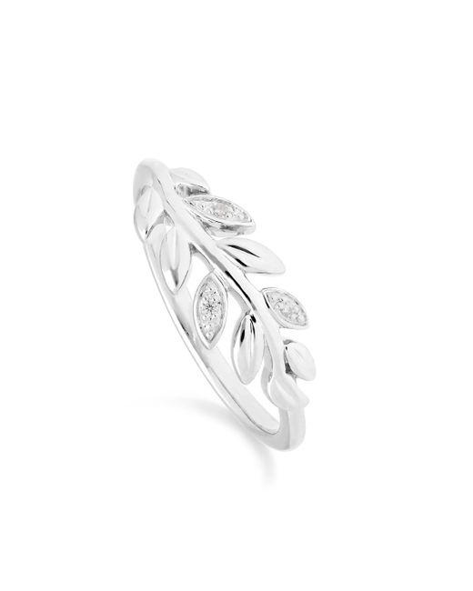Gemondo Jewellery Metallic 9kt White Gold O Leaf Diamond Olive Branch Ring
