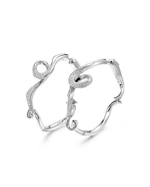 Fei Liu - Metallic Rhodium Plated Serenity Small Hoop Earrings - Lyst