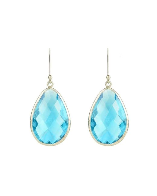 Latelita London - Silver Single Drop Earring Blue Topaz - Lyst
