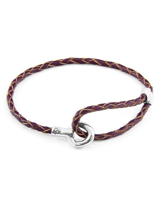 Anchor & Crew Metallic Deep Purple Blake Silver & Braided Leather Bracelet