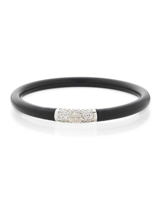 BuDhaGirl Black All Weather Bangles With Silver Bead - Medium - 22cm VxkeIZat