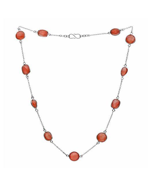 Donatella Balsamo - Metallic Amazonia Red Onyx Chain Necklace Silver - Lyst