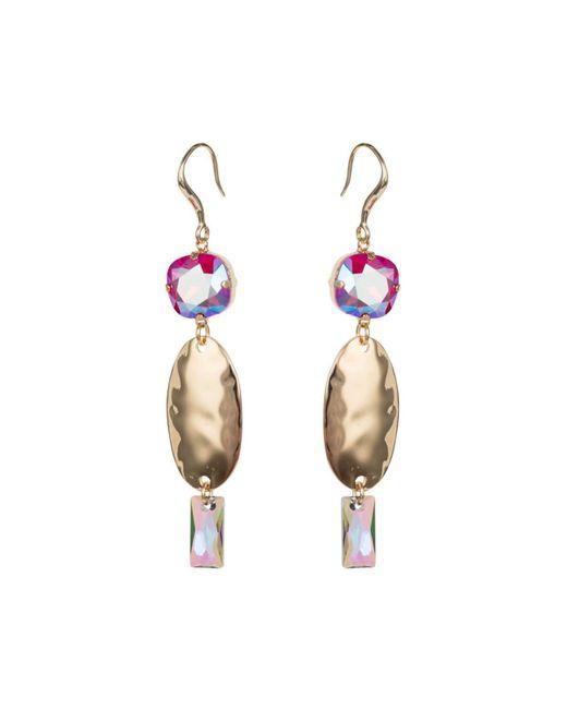 Nadia Minkoff - Multicolor Light Siam Oval Textured Long Earrings - Lyst