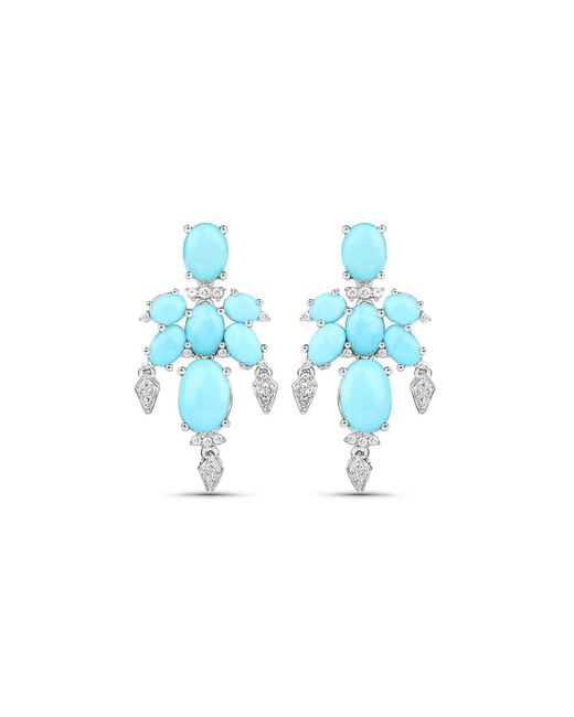 Olivia Leone - Blue Rhodium Plated Silver Delicate Turquoise Earrings - Lyst