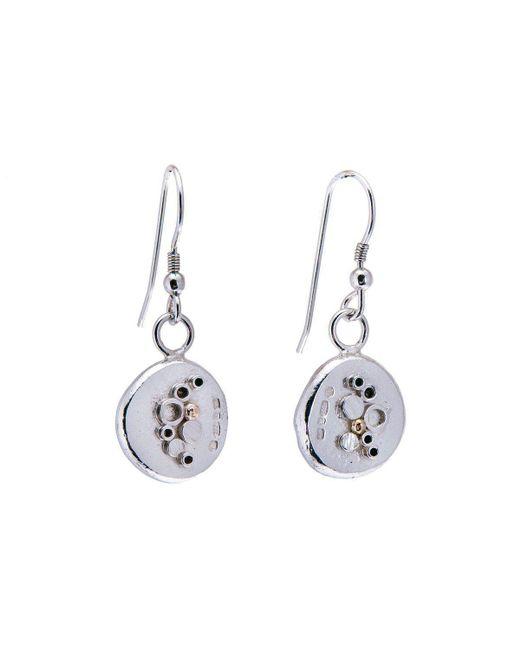 Hannah Silversmith Metallic Geode Crystal Earrings In 18kt Gold