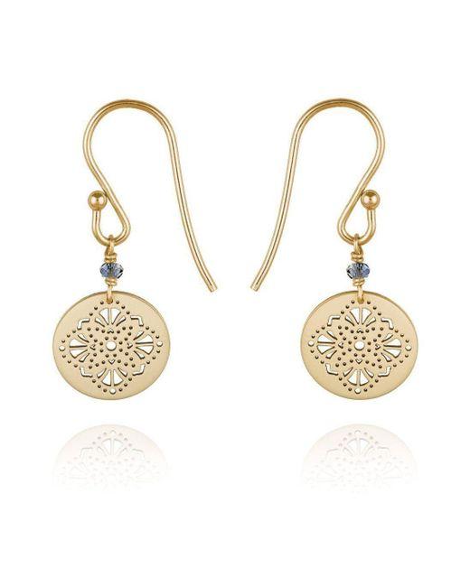 Perle de Lune - Metallic Art Deco Earrings 9kt Yellow Gold - Lyst