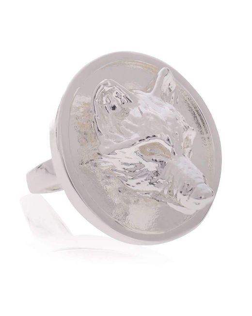 Alexa K - Metallic Large Silver Wolf Signature Ring - Lyst