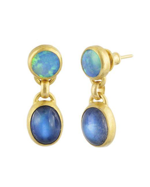 Gurhan - Blue Amulet Hue Double Drop Earrings - Lyst