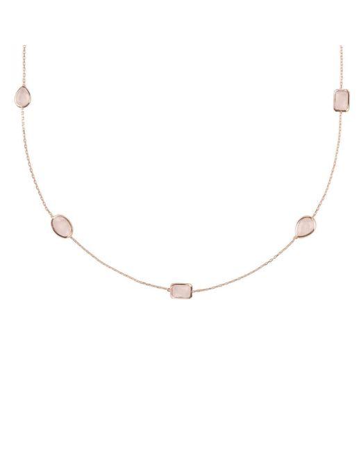 Latelita London - Metallic Venice Long Chain Necklace Rose Gold Smoky Quartz - Lyst