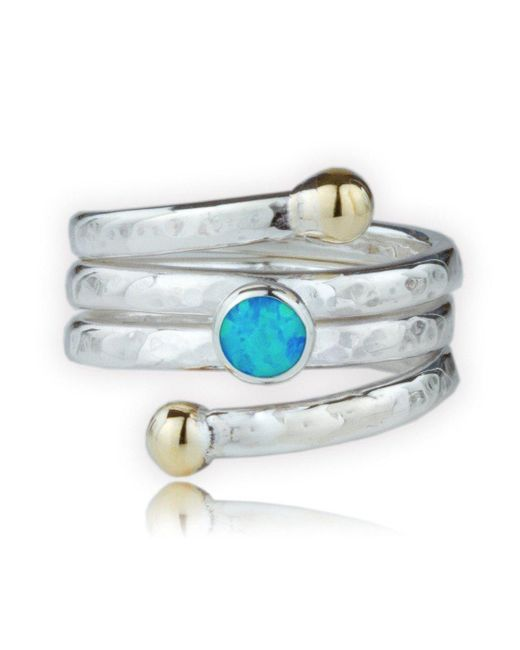 Lavan - Metallic Handmade Hammered Gold And Silver Coil Ring Set With Blue Opal - Lyst