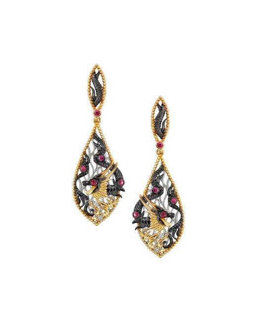 Chekotin Jewellery - Multicolor Fire Element Dragon Earrings - Lyst