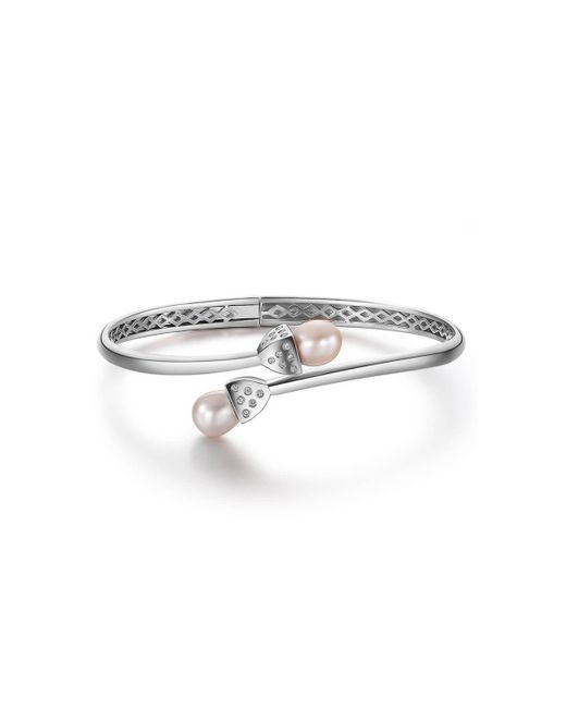 Fei Liu - Metallic Rhodium Plated Snowdrop Pearl Bangle With Cz - Lyst
