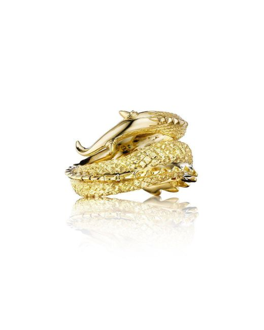 Alexander Jewell - Metallic Dragon Tail Ring - Lyst