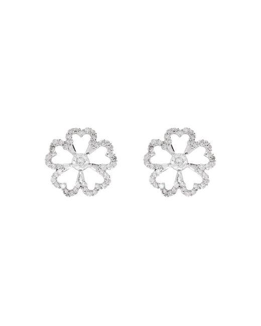 Kaizarin - Multicolor White Gold & Diamond Twin Flowers Stud Earrings   - Lyst