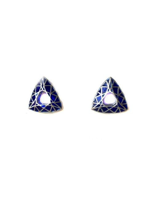 Toosis - Sapphire Blue Triangle Geometric Sterling Silver Earrings With Enamel - Lyst