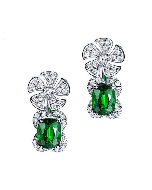 SILVER YULAN - Green Cushion Cut Tsavorite Diamond Flower Earrings - Lyst