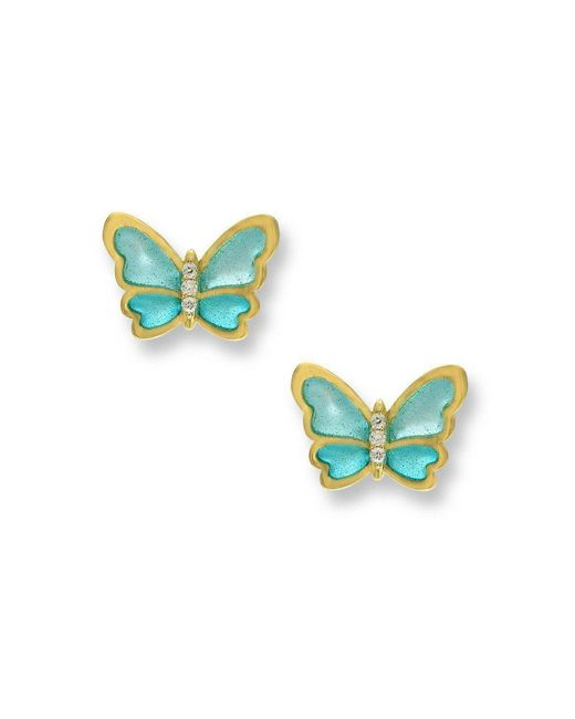 Nicole Barr - Multicolor 18kt Gold Butterfly Turquoise Stud Earrings - Lyst
