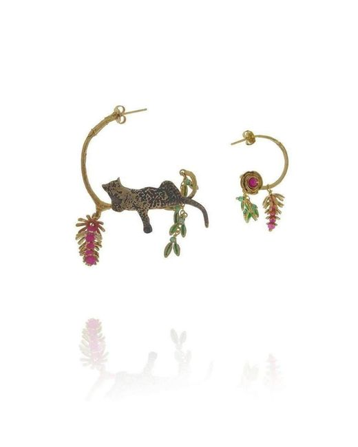 Amanda Coleman   Multicolor Asymmetric Reclining Leopard Earrings With Flower   Lyst
