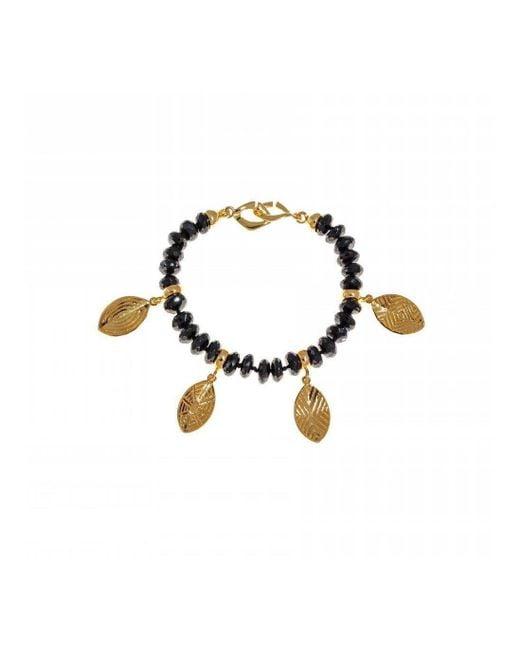 Hissia - Metallic Melanite Garnet Bracelet With Gold Shields Charms - Lyst