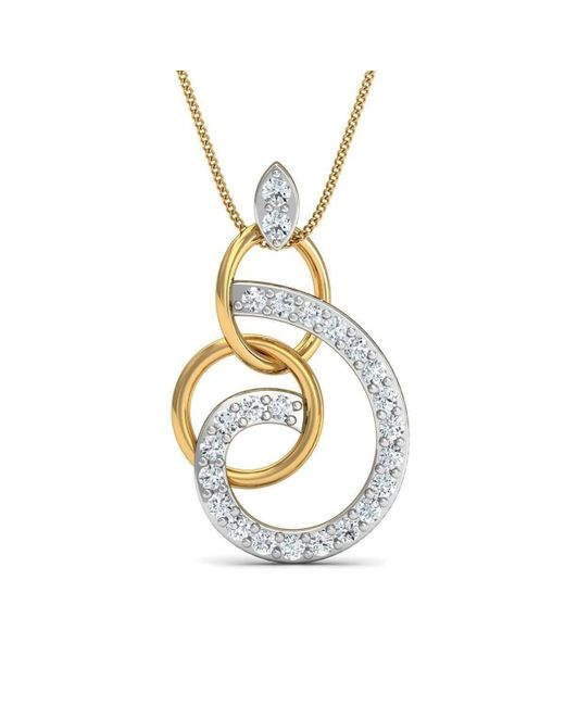 Diamoire Jewels Round Cut 24 Diamonds Pave Pendant in 18kt Yellow Gold KOLZjlgc