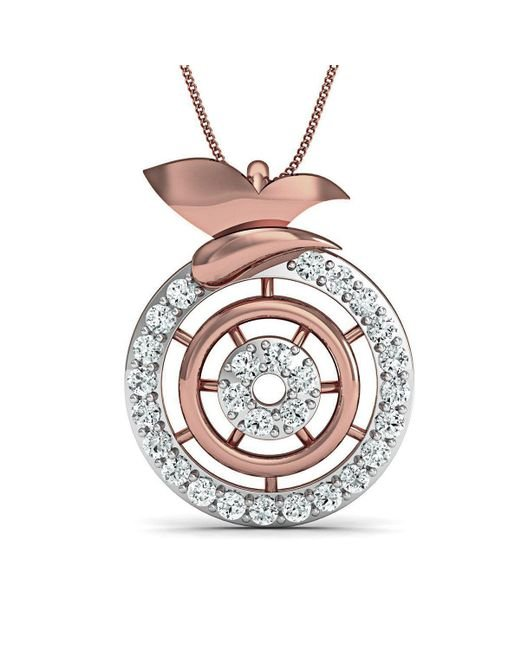 Diamoire Jewels - Metallic Inspired By Nature 14kt Rose Gold Pave Designer Diamond Pendant - Lyst