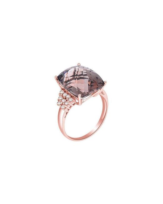 H.Azeem - Multicolor Smoky Quartz Rose Gold Ring - Lyst