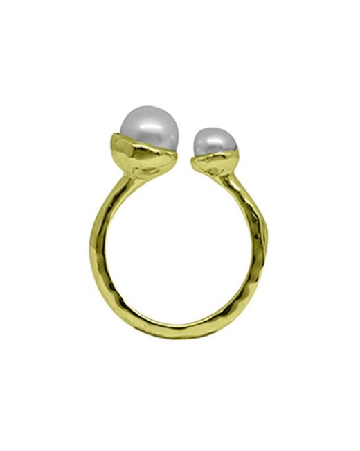 Murkani Jewellery - Metallic Gold & Double White Pearl Riveria Ring | - Lyst